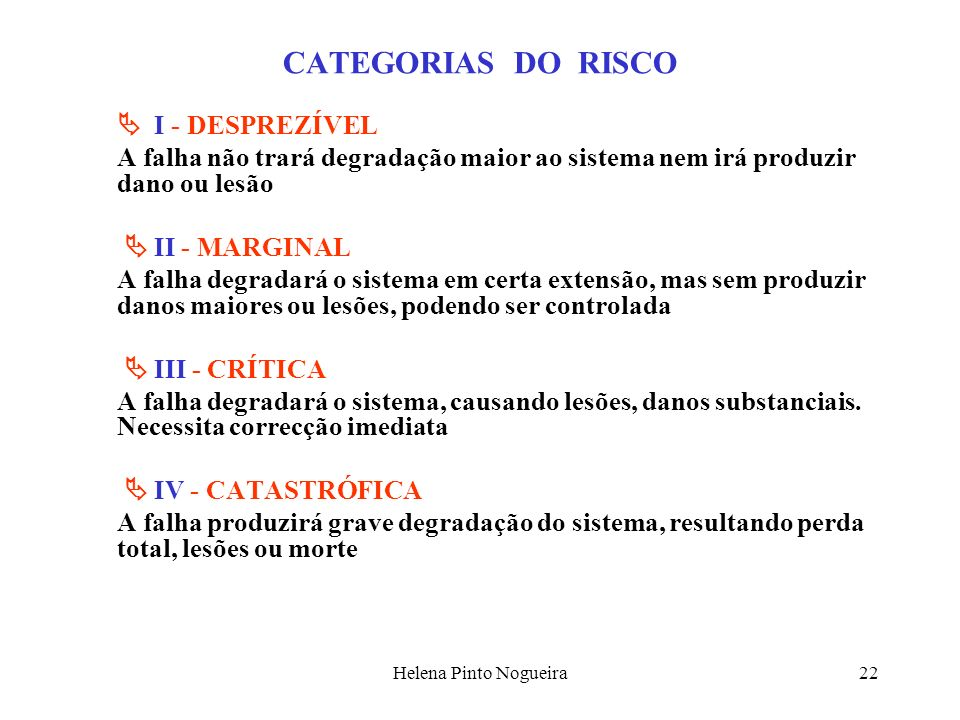 CATEGORIAS DO RISCO  I - DESPREZÍVEL