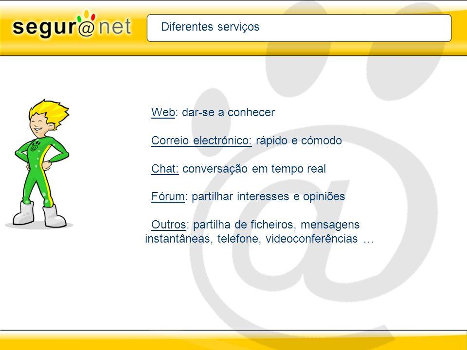 Diferentes serviços Web: dar-se a conhecer. Correio electrónico: rápido e cómodo. Chat: conversação em tempo real.