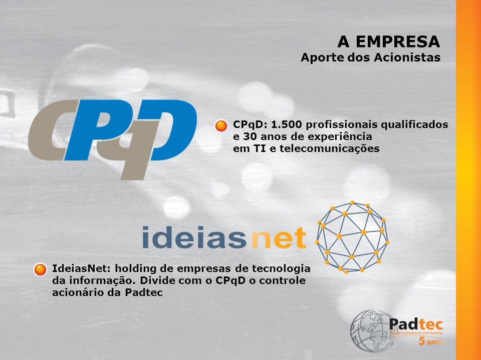 A EMPRESA Aporte dos Acionistas CPqD: 1.500 profissionais qualificados
