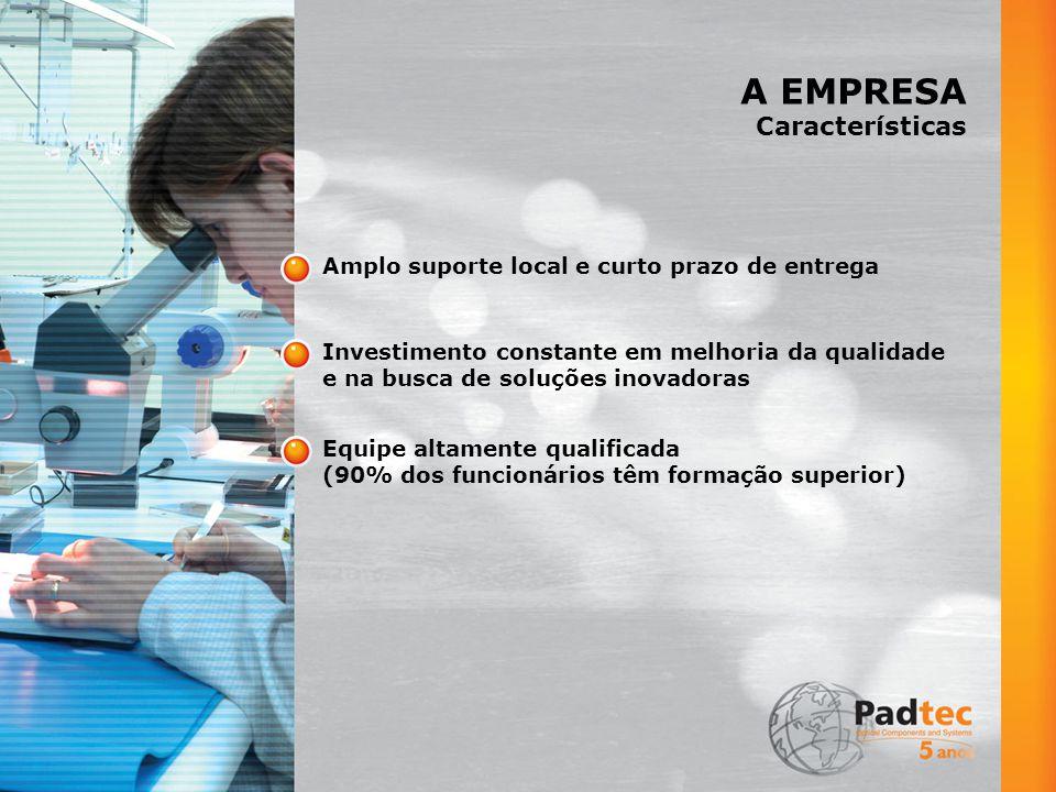 A EMPRESA Características Amplo suporte local e curto prazo de entrega