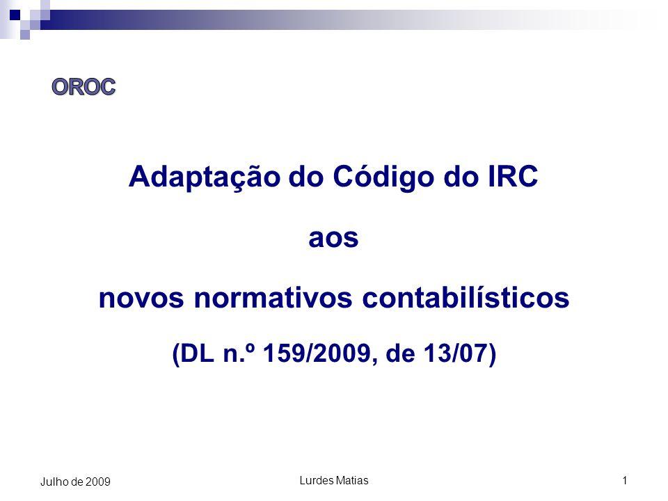 Adaptação do Código do IRC novos normativos contabilísticos