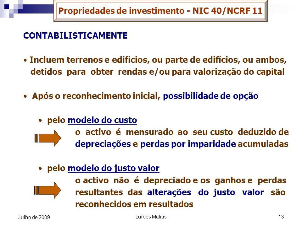 Propriedades de investimento - NIC 40/NCRF 11