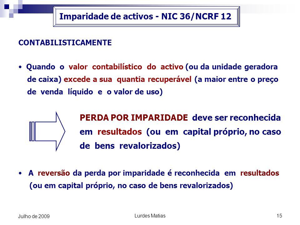 Imparidade de activos - NIC 36/NCRF 12
