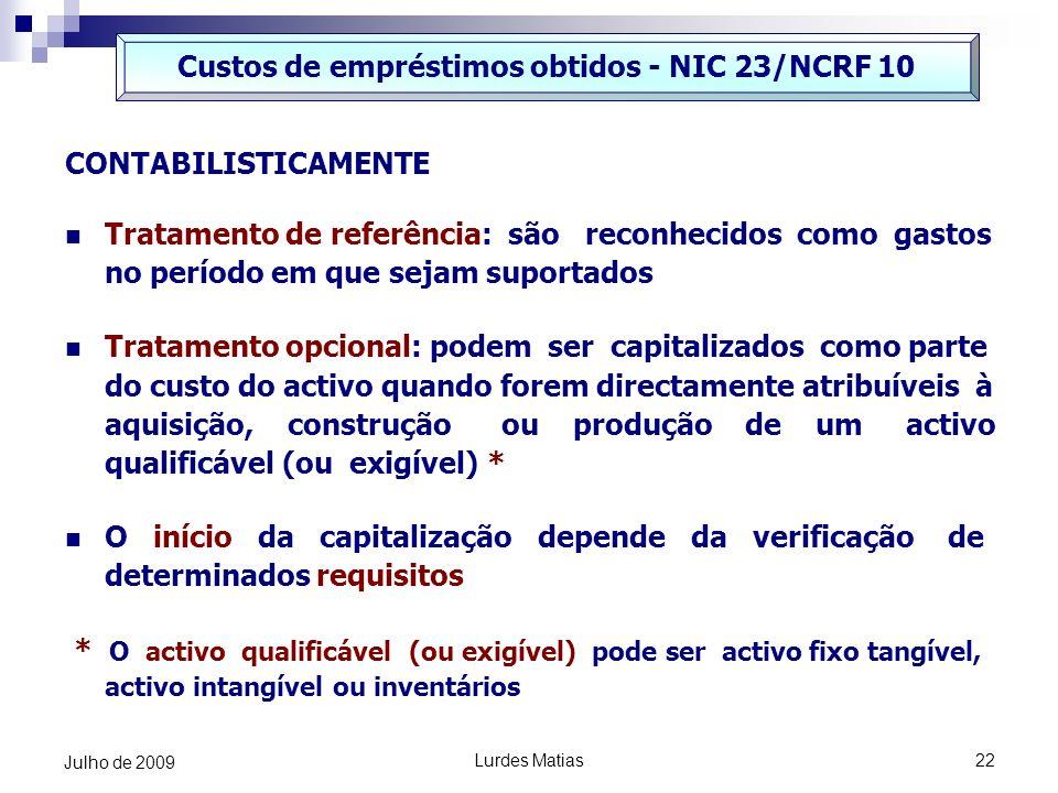 Custos de empréstimos obtidos - NIC 23/NCRF 10