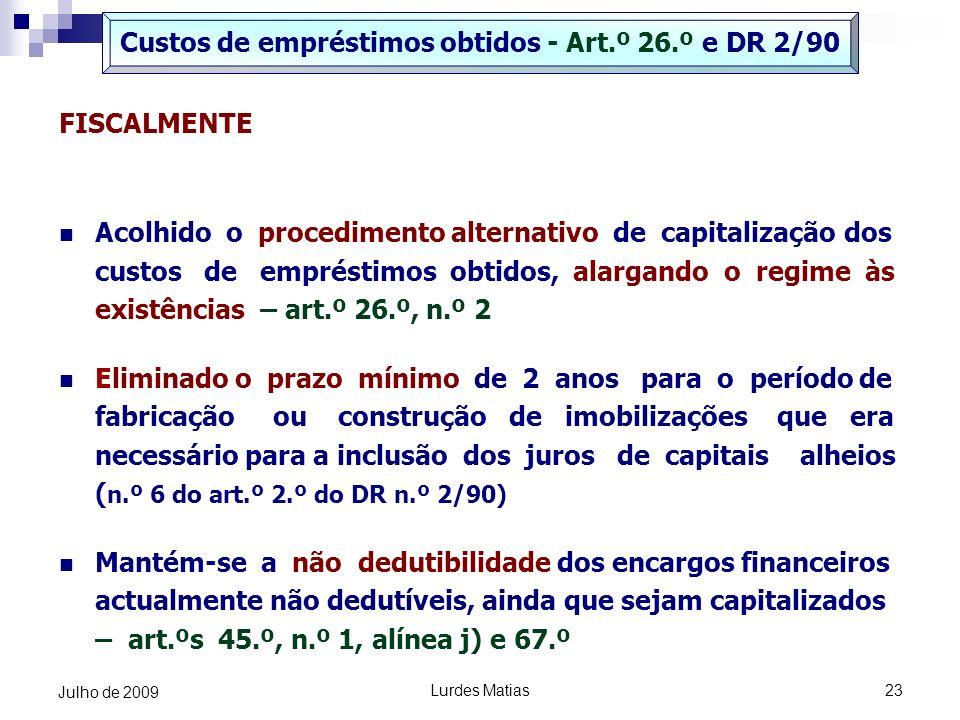 Custos de empréstimos obtidos - Art.º 26.º e DR 2/90