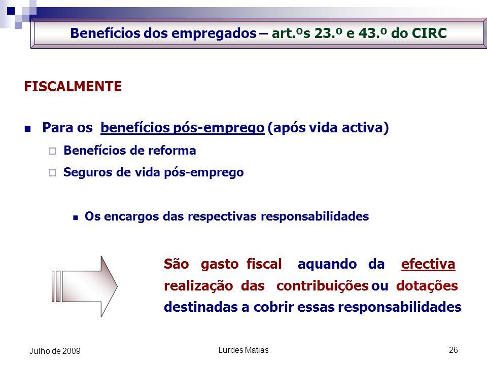 Benefícios dos empregados – art.ºs 23.º e 43.º do CIRC