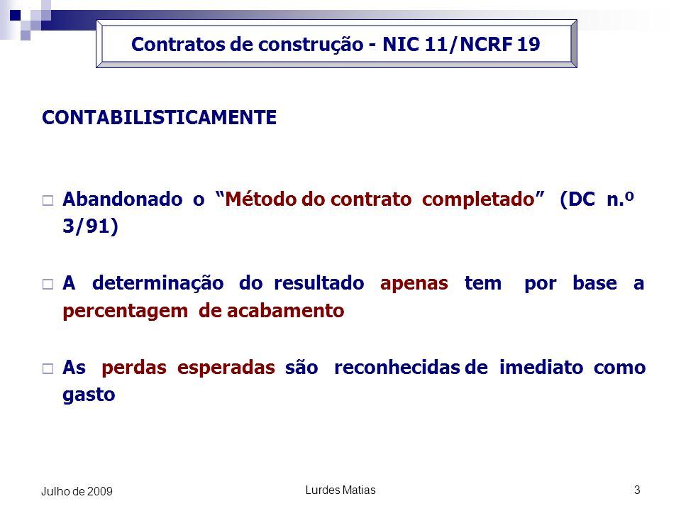 Contratos de construção - NIC 11/NCRF 19