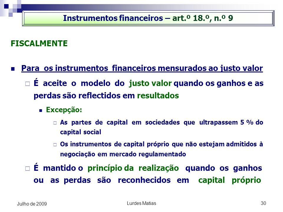 Instrumentos financeiros – art.º 18.º, n.º 9