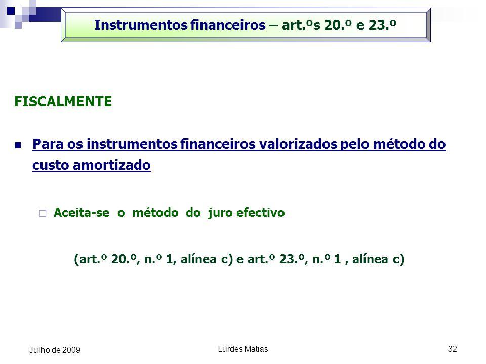 Instrumentos financeiros – art.ºs 20.º e 23.º
