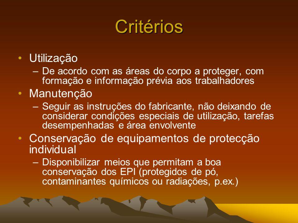 Critérios Utilização Manutenção