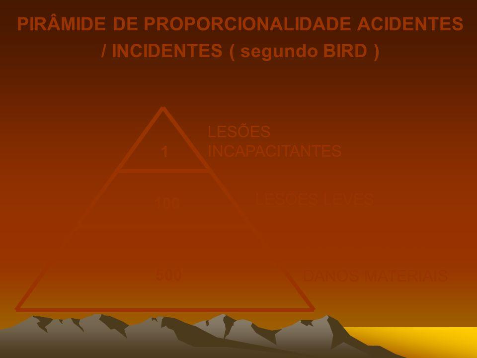 PIRÂMIDE DE PROPORCIONALIDADE ACIDENTES / INCIDENTES ( segundo BIRD )