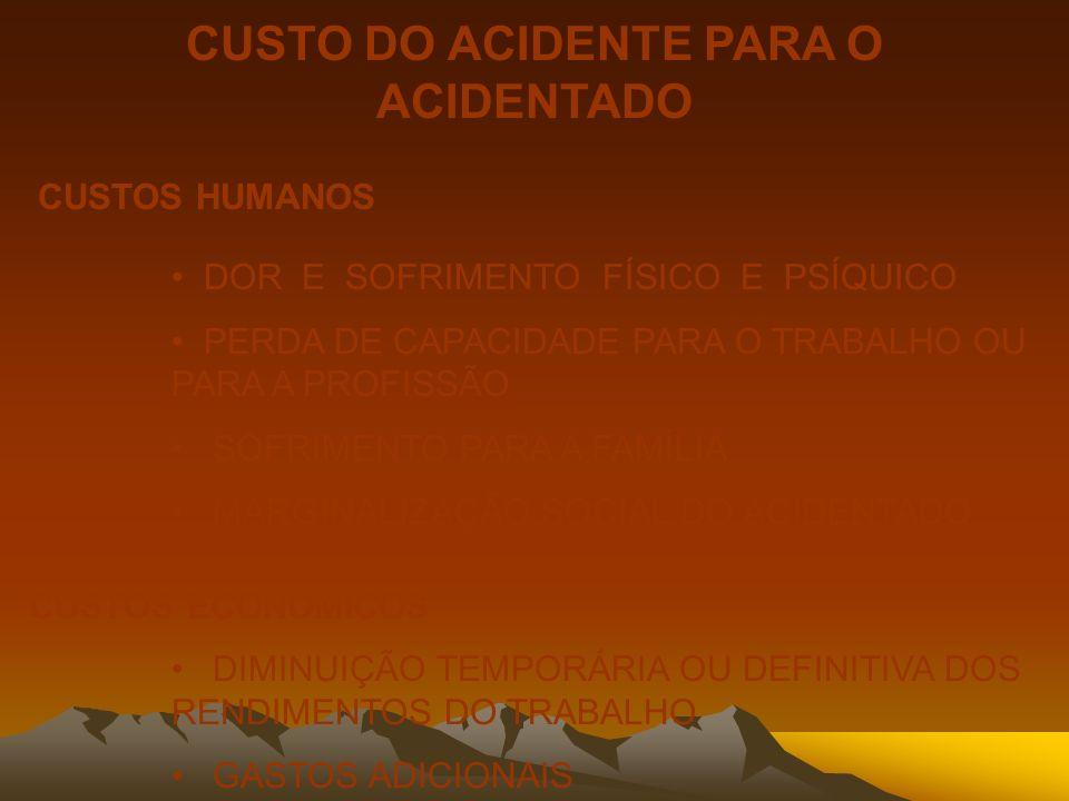 CUSTO DO ACIDENTE PARA O ACIDENTADO