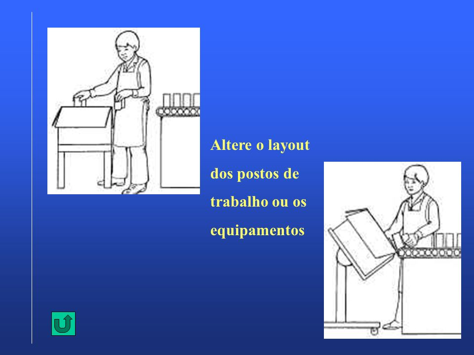 Altere o layout dos postos de trabalho ou os equipamentos