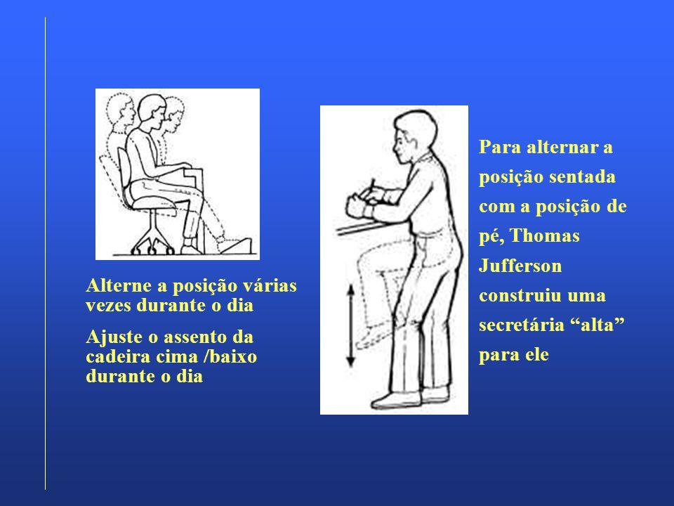 Para alternar a posição sentada com a posição de pé, Thomas Jufferson construiu uma secretária alta para ele