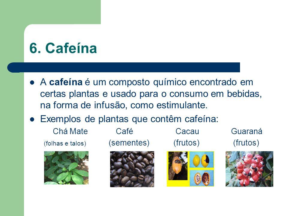 6. Cafeína A cafeína é um composto químico encontrado em certas plantas e usado para o consumo em bebidas, na forma de infusão, como estimulante.