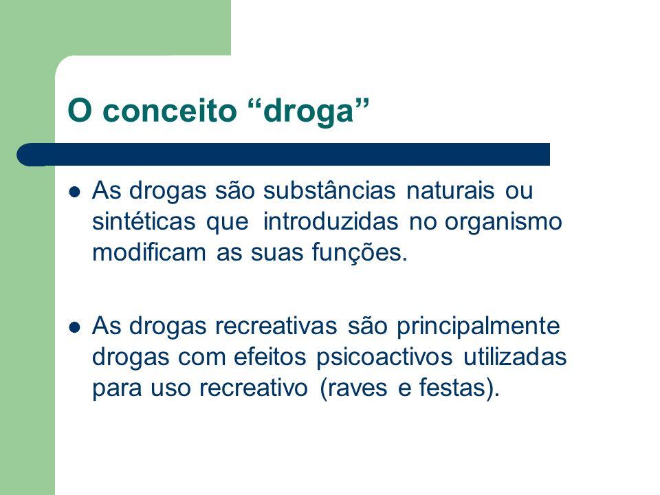 O conceito droga As drogas são substâncias naturais ou sintéticas que introduzidas no organismo modificam as suas funções.