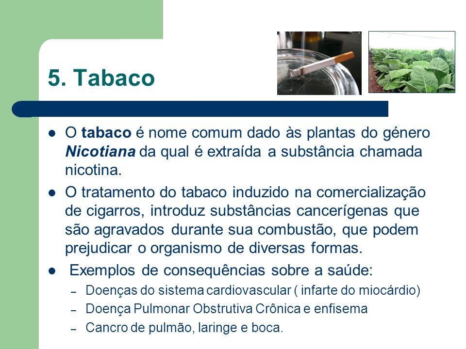 5. Tabaco O tabaco é nome comum dado às plantas do género Nicotiana da qual é extraída a substância chamada nicotina.