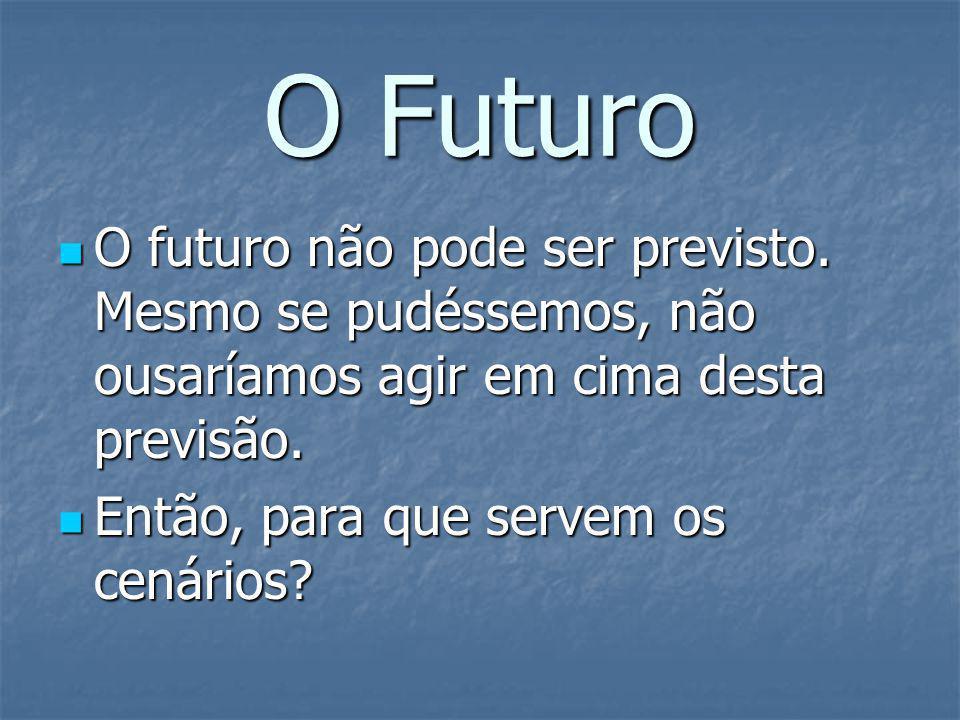 O Futuro O futuro não pode ser previsto. Mesmo se pudéssemos, não ousaríamos agir em cima desta previsão.