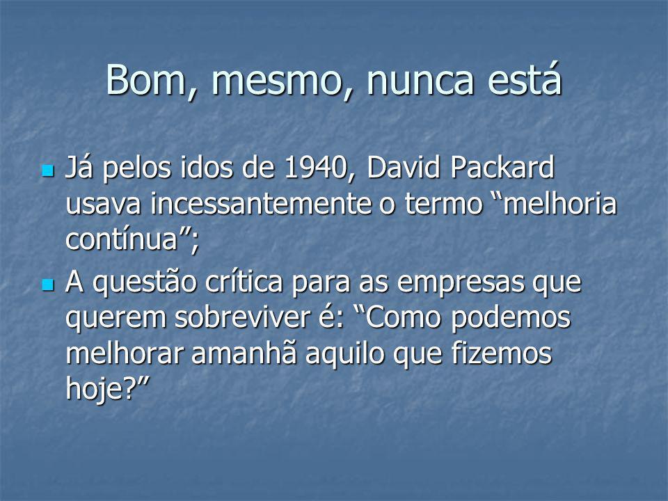 Bom, mesmo, nunca está Já pelos idos de 1940, David Packard usava incessantemente o termo melhoria contínua ;