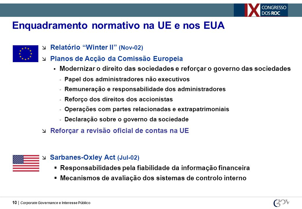 Enquadramento normativo na UE e nos EUA