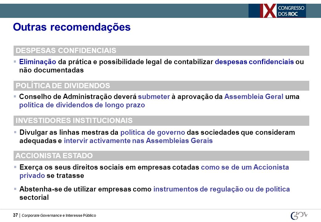 Outras recomendações DESPESAS CONFIDENCIAIS POLÍTICA DE DIVIDENDOS