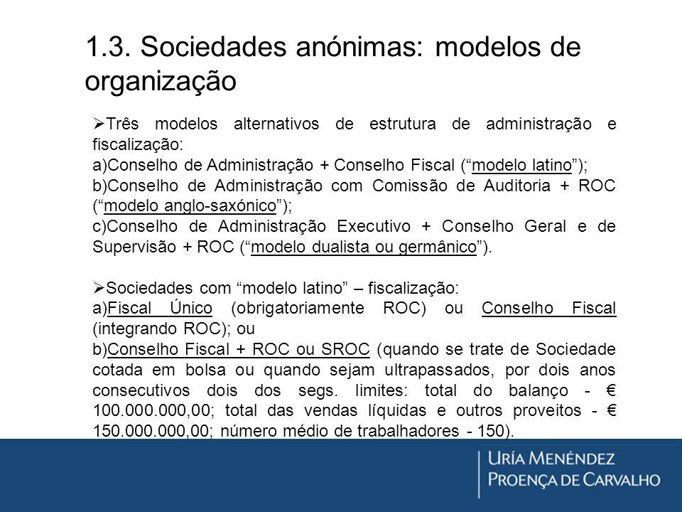 1.3. Sociedades anónimas: modelos de organização