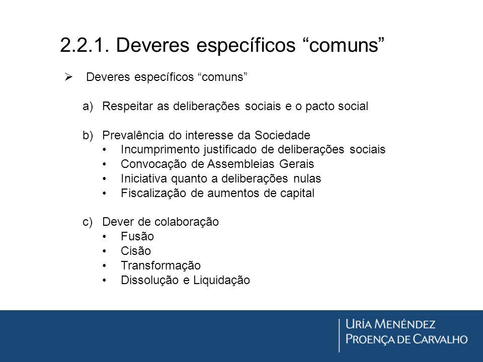 2.2.1. Deveres específicos comuns