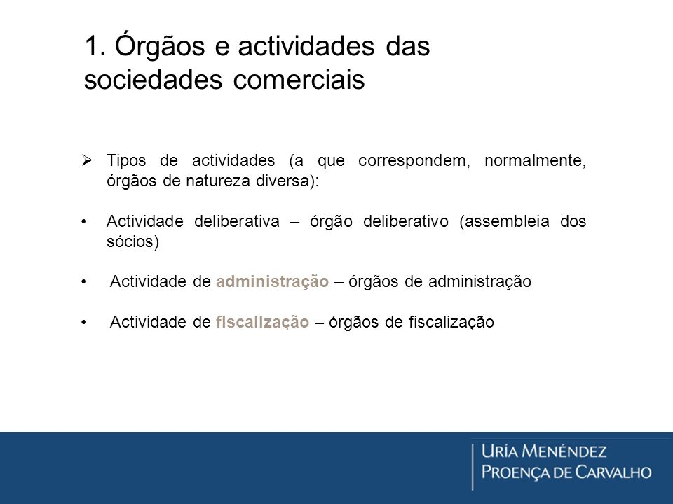 1. Órgãos e actividades das sociedades comerciais