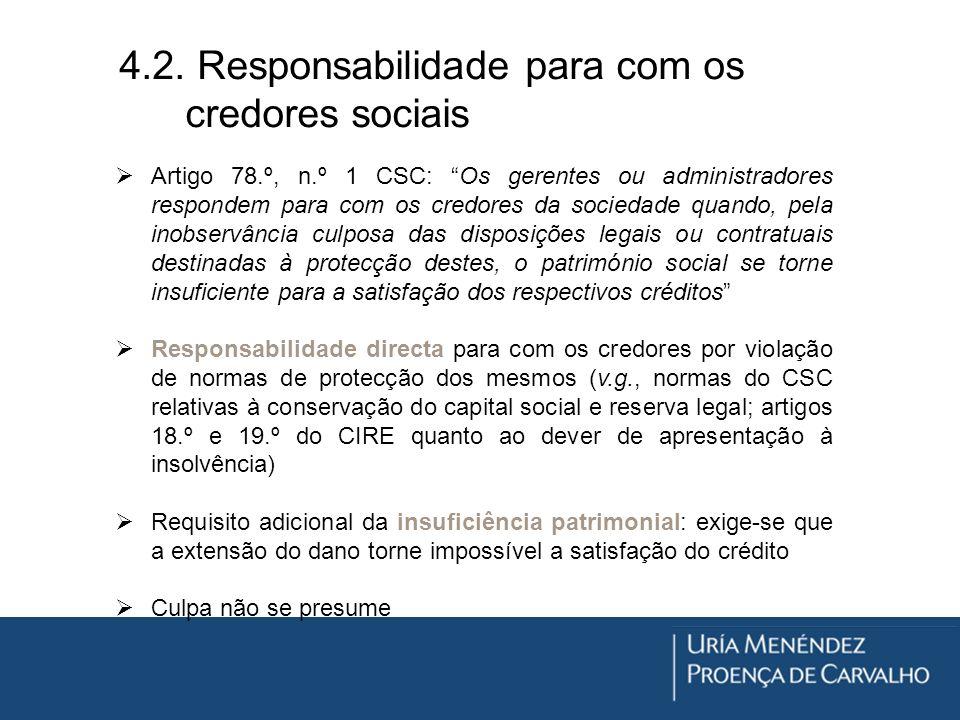 4.2. Responsabilidade para com os credores sociais