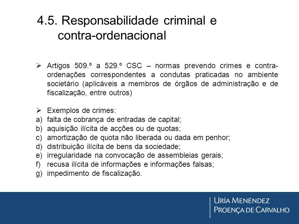 4.5. Responsabilidade criminal e contra-ordenacional