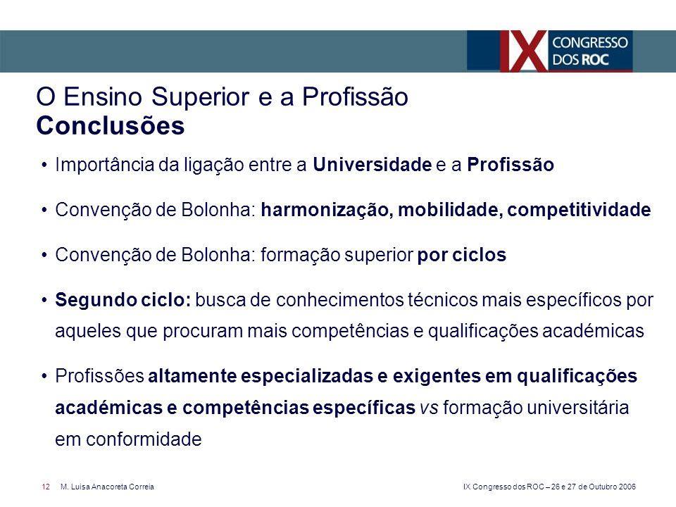 O Ensino Superior e a Profissão Conclusões