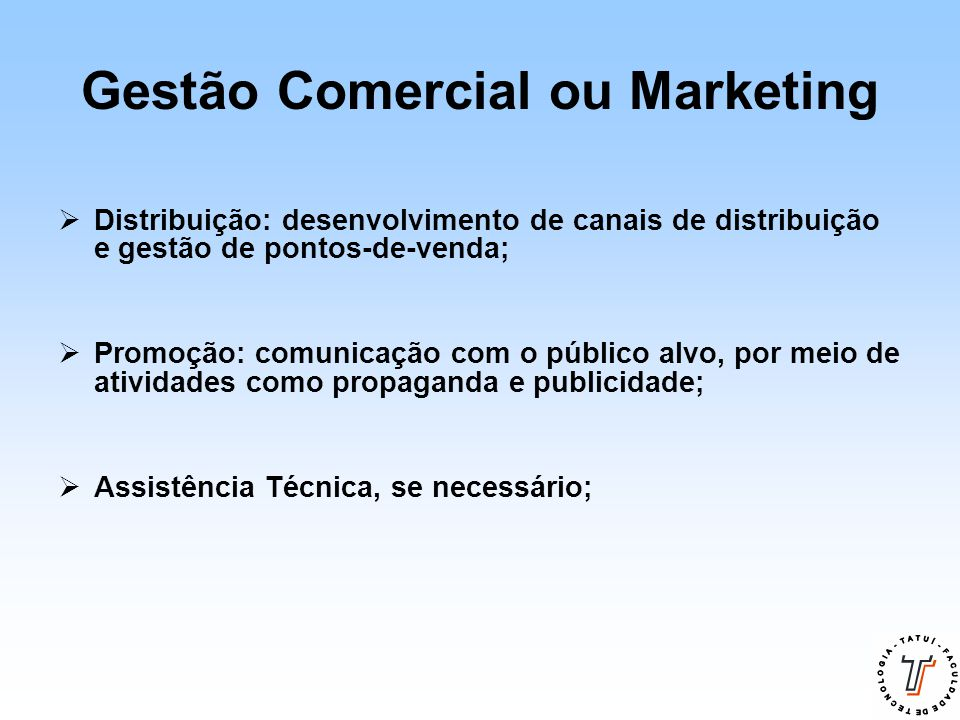 Gestão Comercial ou Marketing