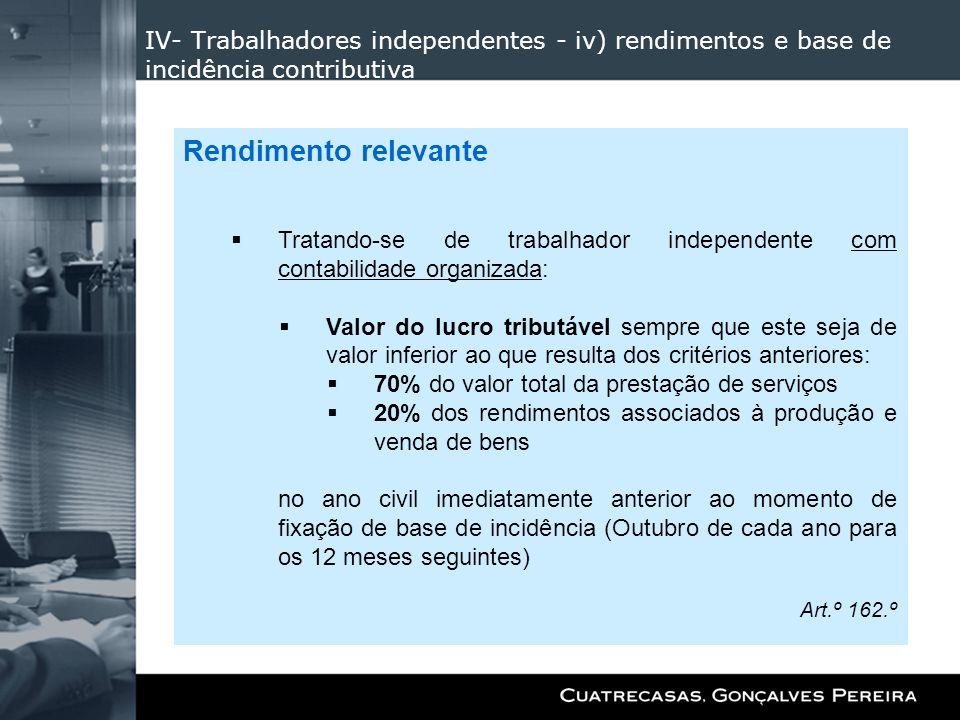 IV- Trabalhadores independentes - iv) rendimentos e base de incidência contributiva
