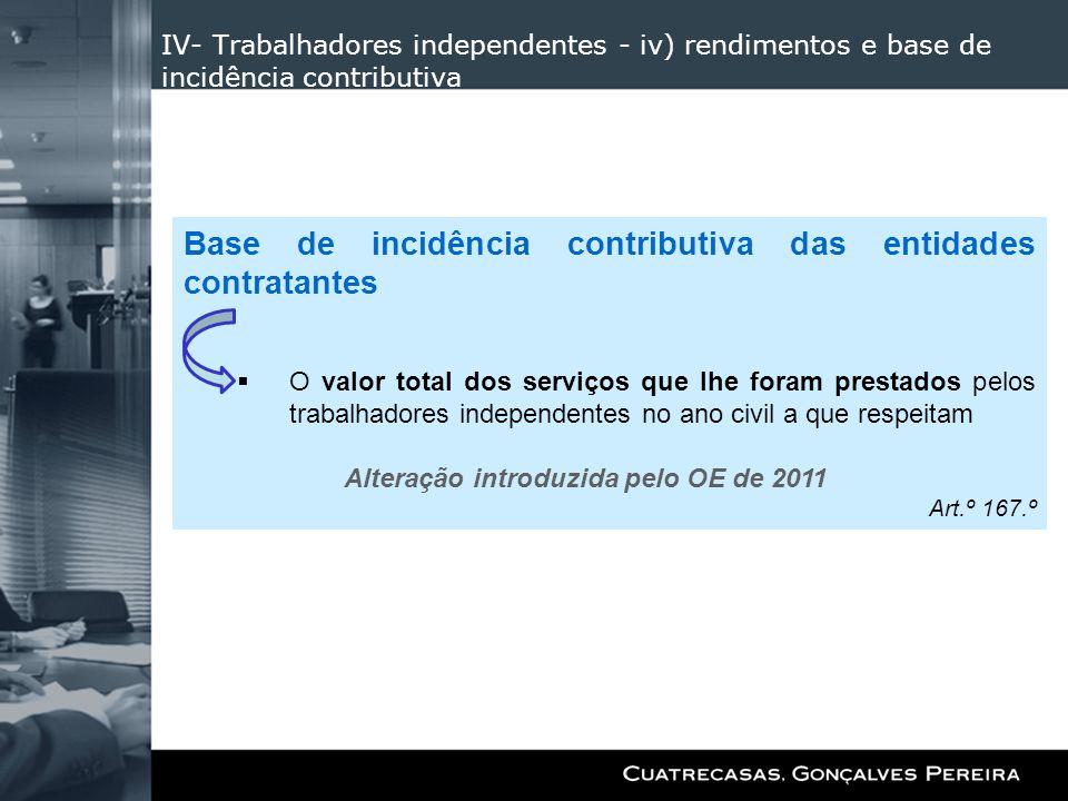 Base de incidência contributiva das entidades contratantes
