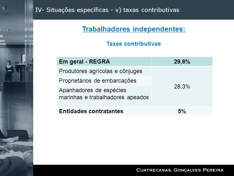 IV- Situações específicas - v) taxas contributivas