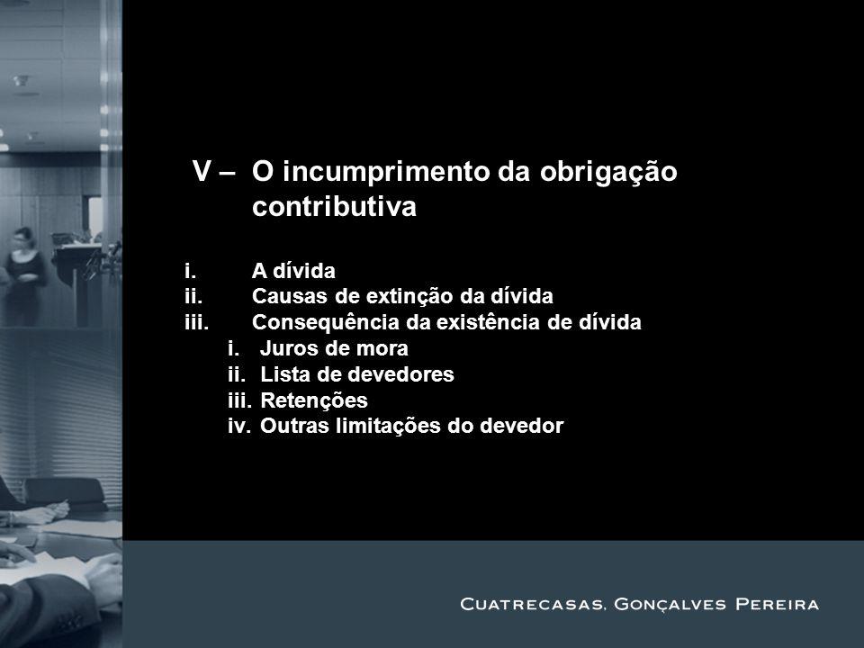 IV – O incumprimento da obrigação contributiva Title Subtitle