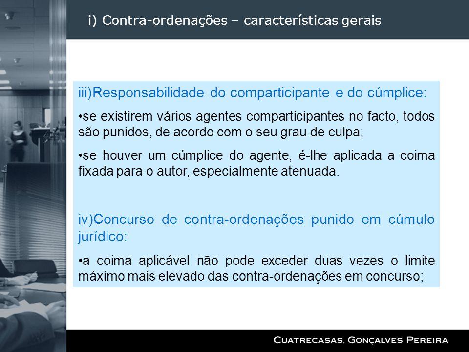 i) Contra-ordenações – características gerais