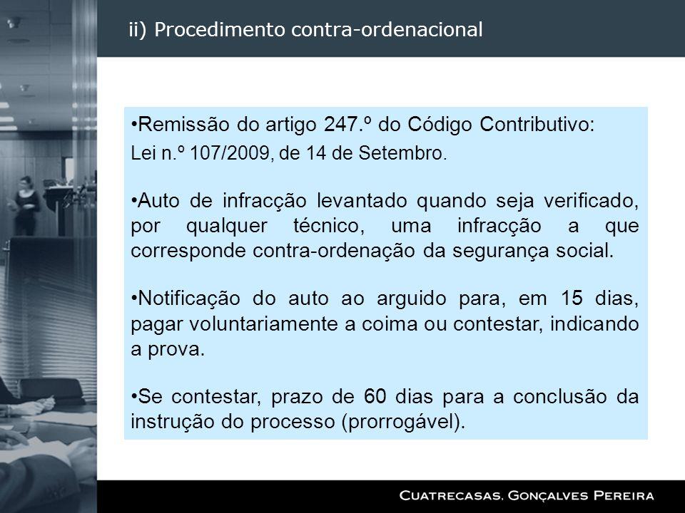 ii) Procedimento contra-ordenacional