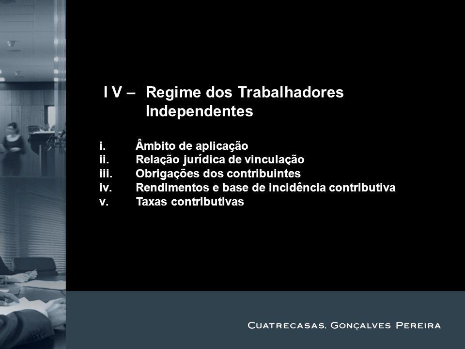 II V – Regime dos Trabalhadores Independentes Title Subtitle