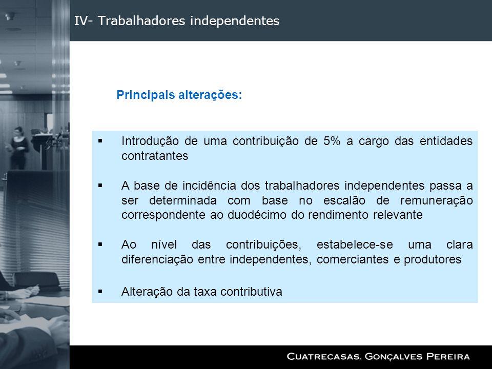IV- Trabalhadores independentes