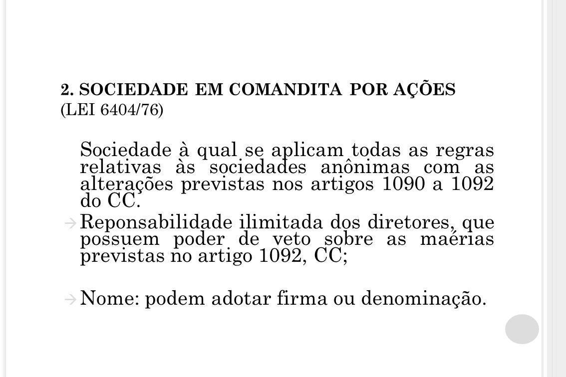 2. SOCIEDADE EM COMANDITA POR AÇÕES (LEI 6404/76)
