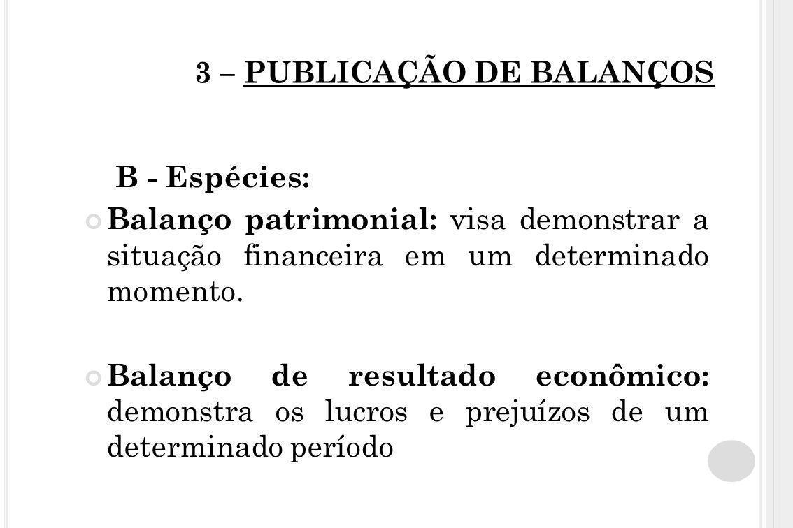3 – PUBLICAÇÃO DE BALANÇOS