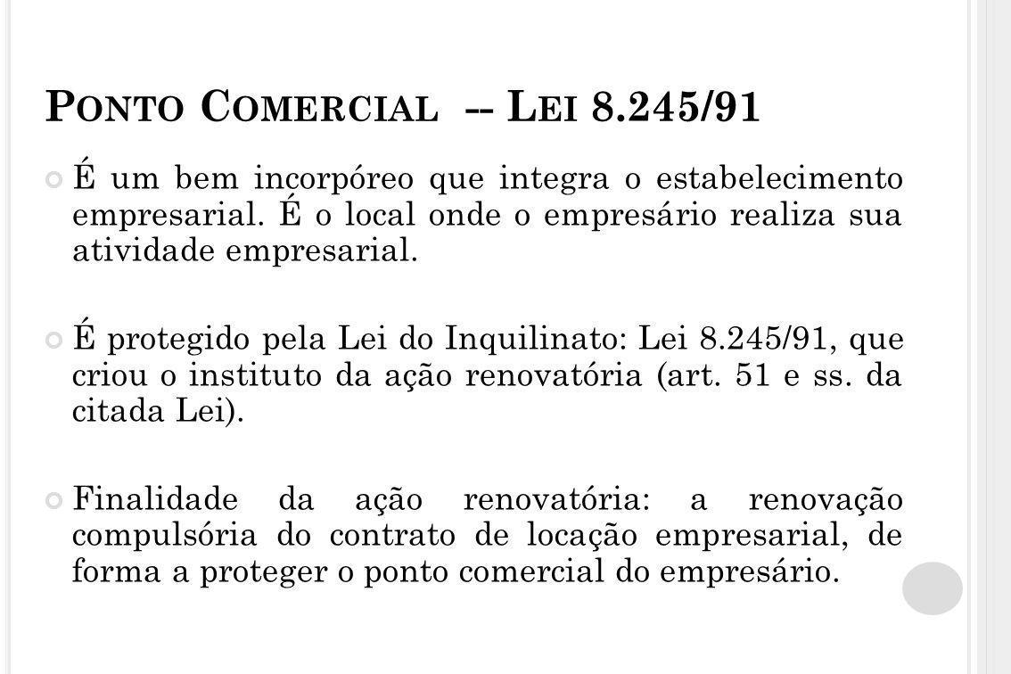 Ponto Comercial -- Lei 8.245/91