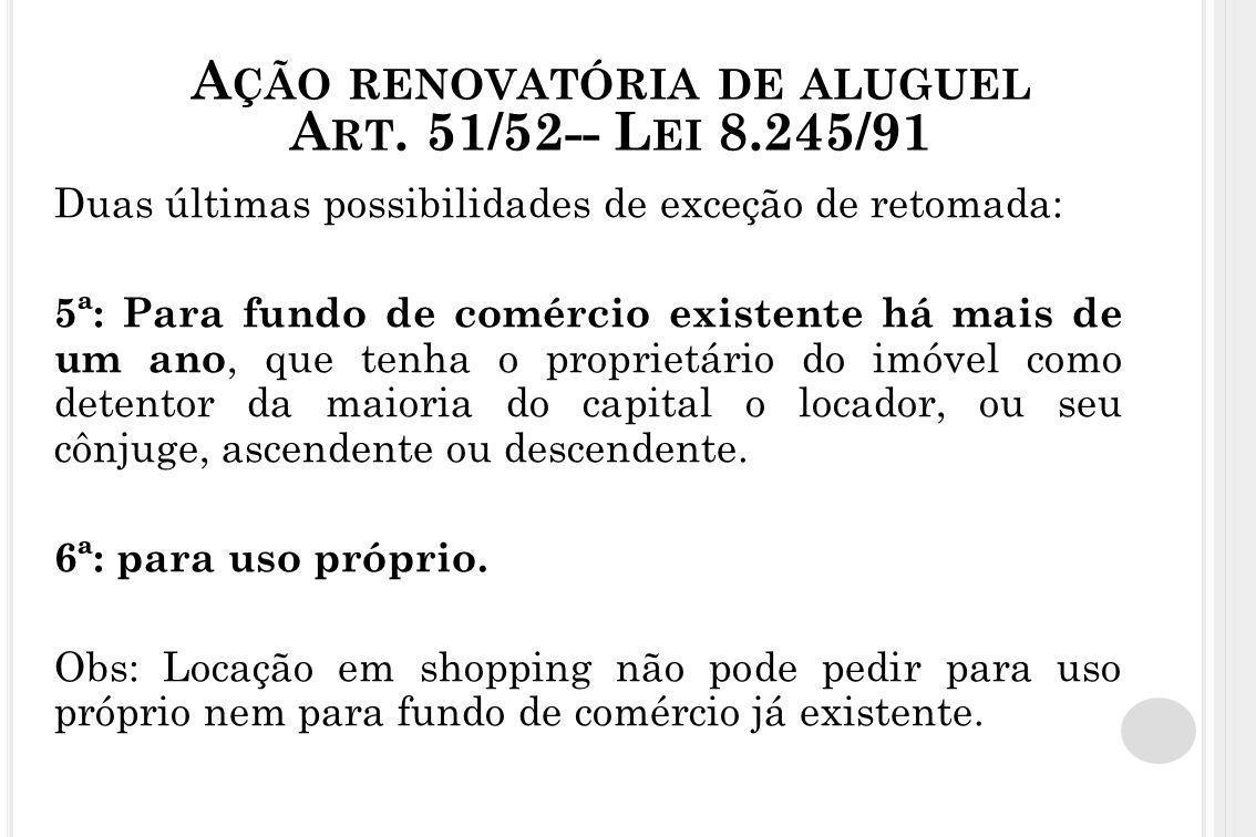 Ação renovatória de aluguel Art. 51/52-- Lei 8.245/91