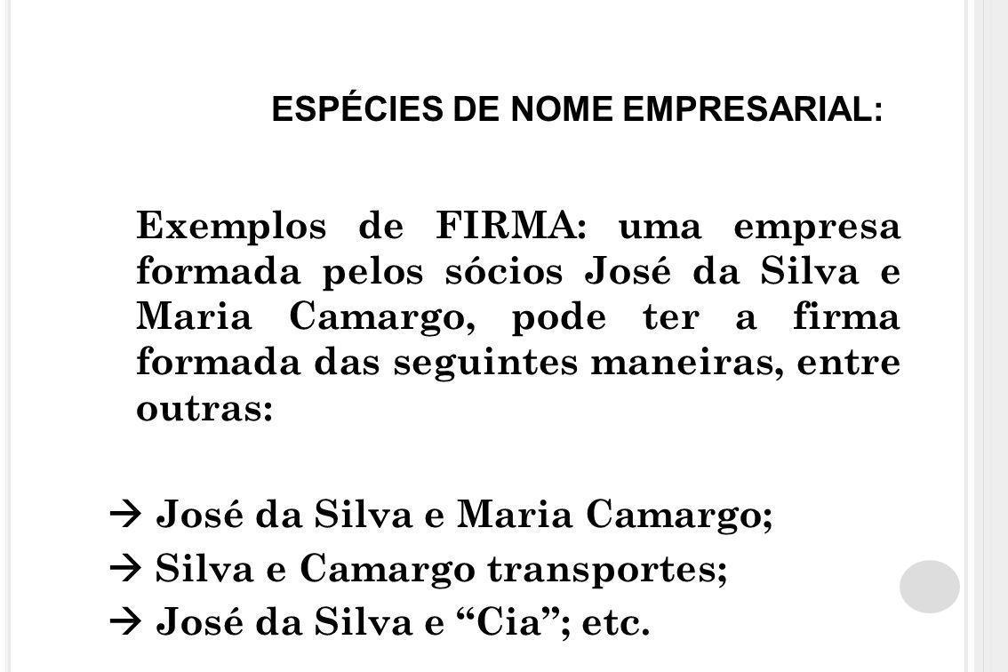 ESPÉCIES DE NOME EMPRESARIAL: