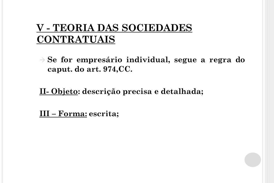V - TEORIA DAS SOCIEDADES CONTRATUAIS