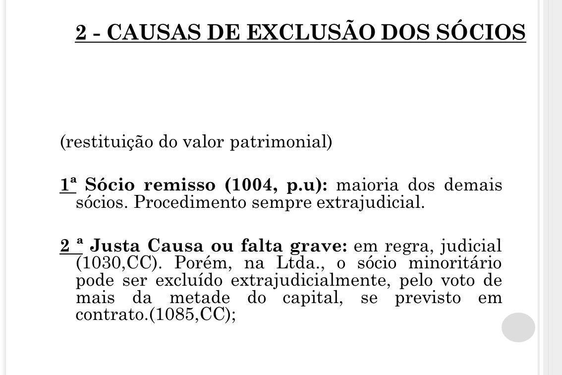 2 - CAUSAS DE EXCLUSÃO DOS SÓCIOS