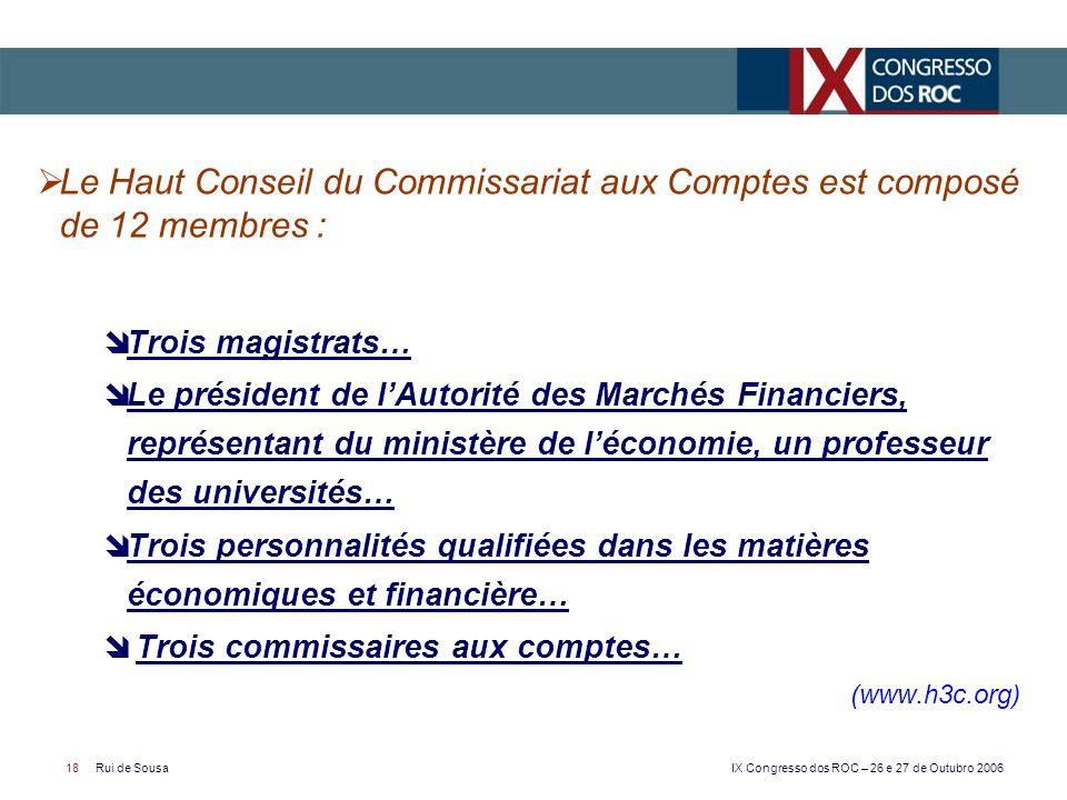Le Haut Conseil du Commissariat aux Comptes est composé de 12 membres :