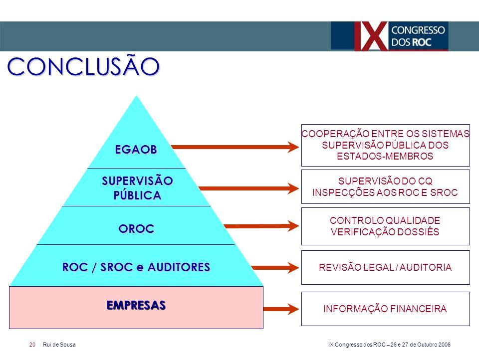 CONCLUSÃO EGAOB SUPERVISÃO PÚBLICA OROC ROC / SROC e AUDITORES