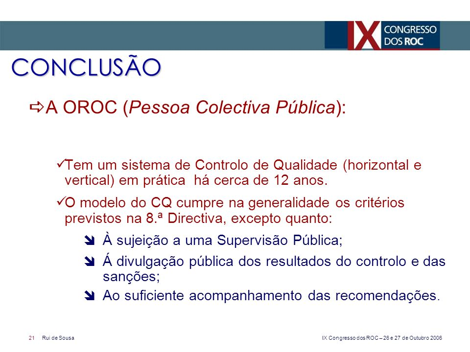 CONCLUSÃO A OROC (Pessoa Colectiva Pública):